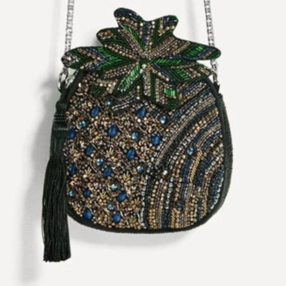 Zara Handbags - Zara Pineapple Embroidered/Beaded bag